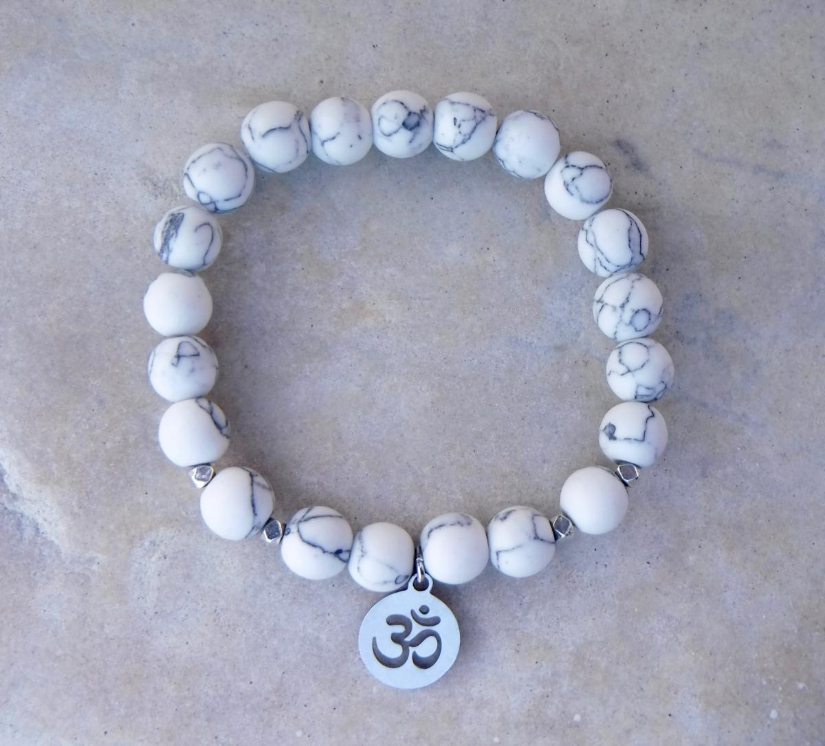 BE CALM: White Howlite and Om Charm