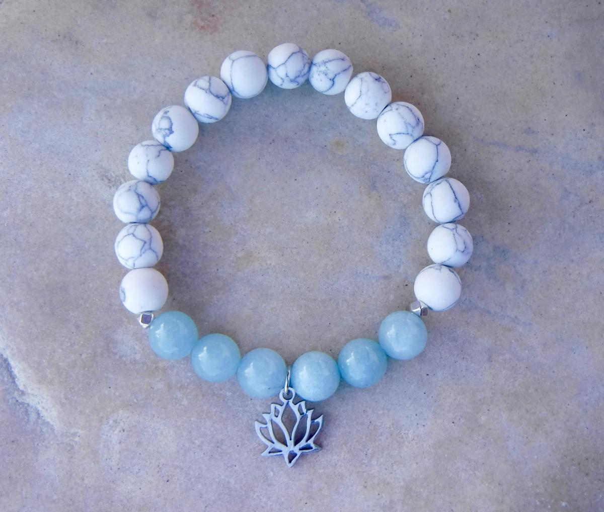 BE COURAGEOUS: Blue Jade with White Howlite and Lotus Charm
