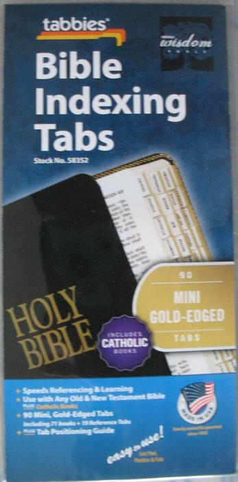Mini Gold-Edged Bible Indexing Tabs Catholic