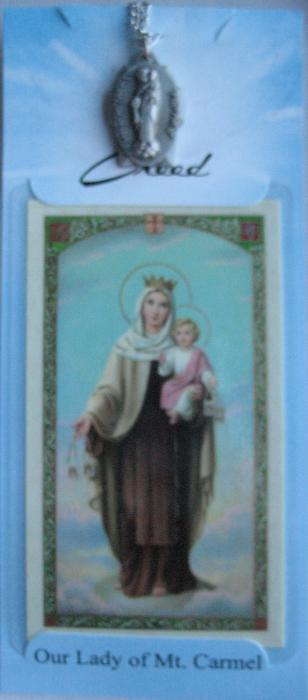 Our Lady of Mt. Carmel Pewter medal with chain & prayercard