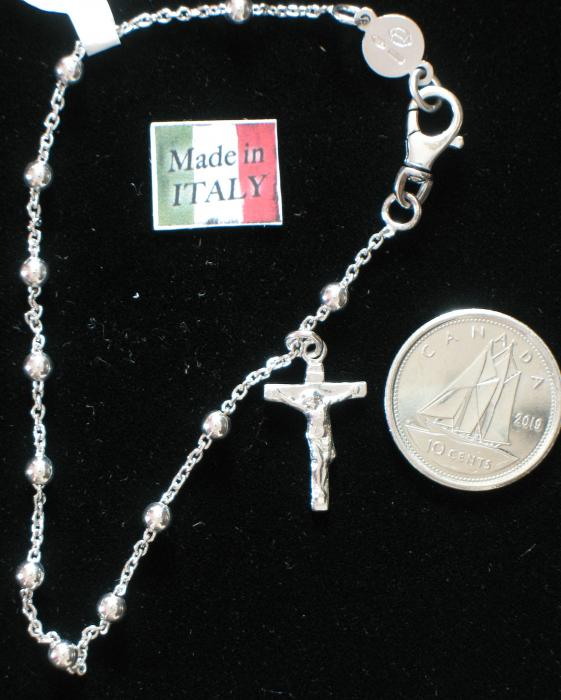 Rosary Bracelet 7in Sterling Silver with Rhodium Plate