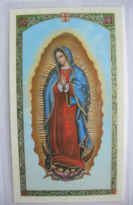 Our Lady of Guadalupe Pewter medal with chain and prayercard