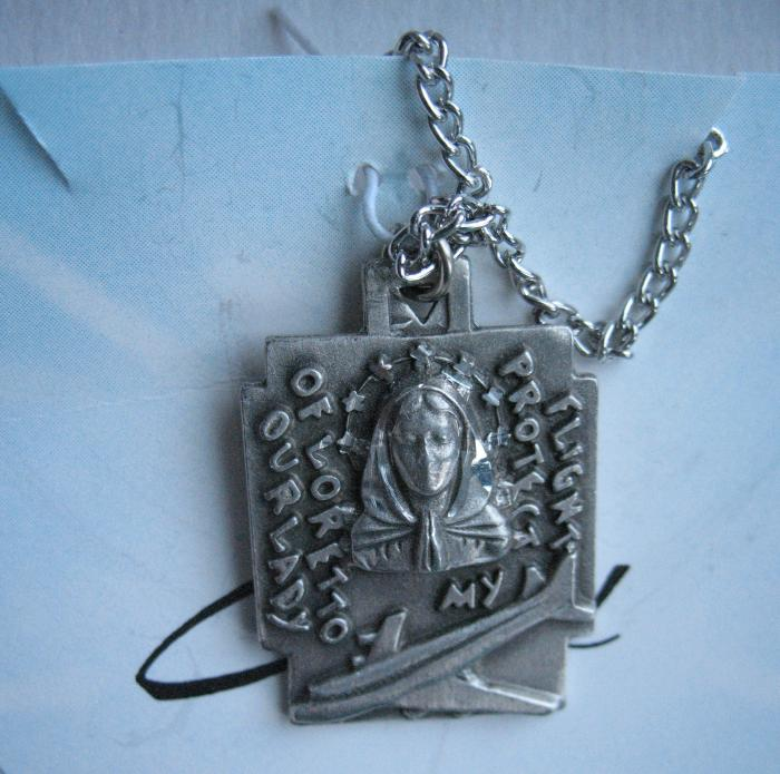 Our Lady of Loretto (Airplane) Pewter Medal with chain & prayercard