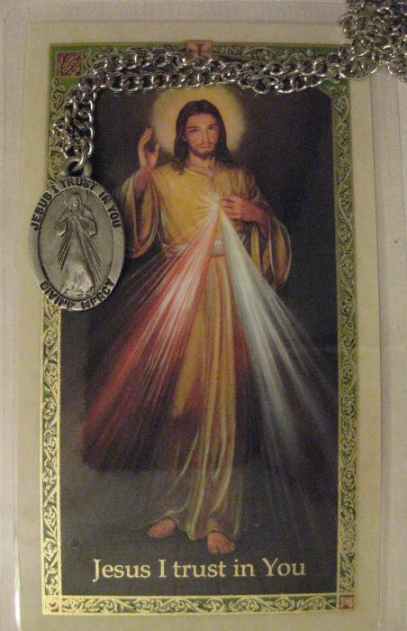 Divine Mercy Pewter Medal with 24 inch chain & Prayercard