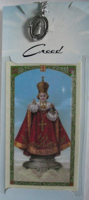 Infant of Prague Pewter Medal with chain & prayercard