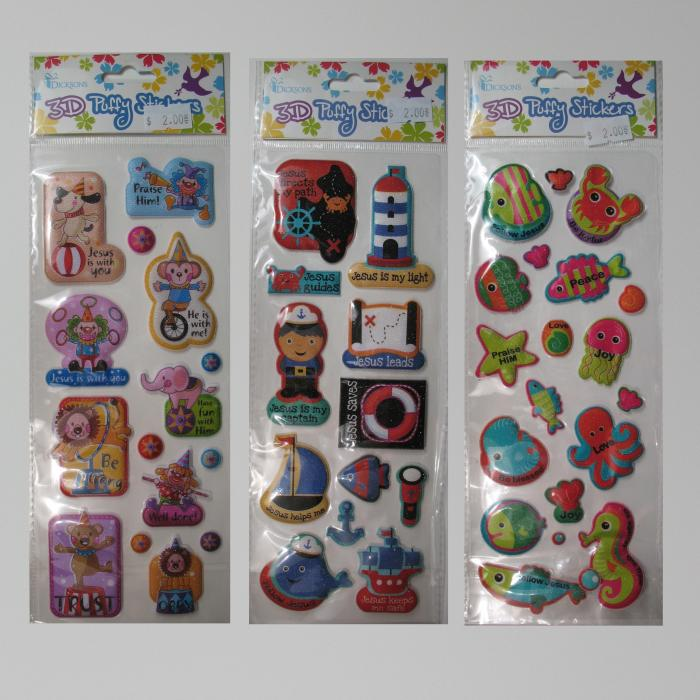 3D Puffy Stickers- Circus, Lighthouse  or Sea Creatures