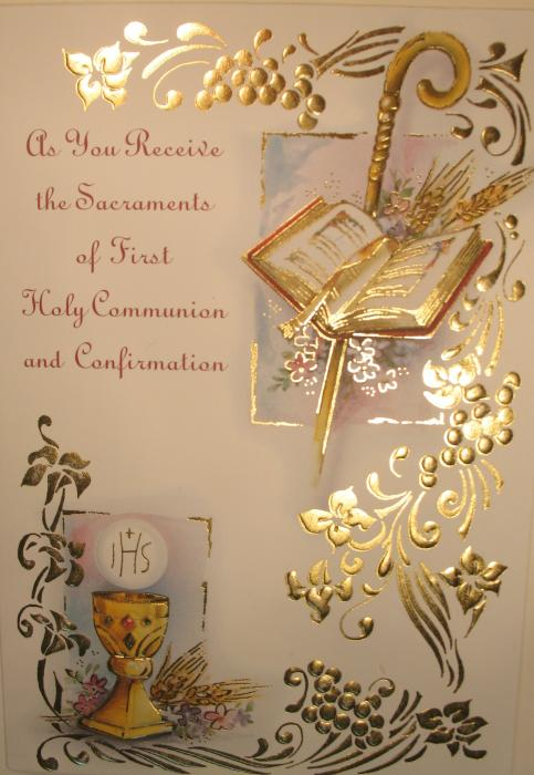 As You Receive the Sacraments of First Holy Communion and Confirmation Greeting Card