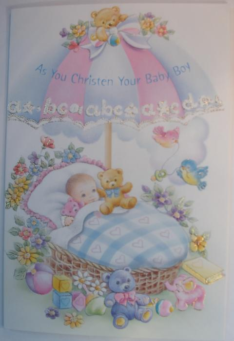 As You Christen Your Baby Boy Greeting Card