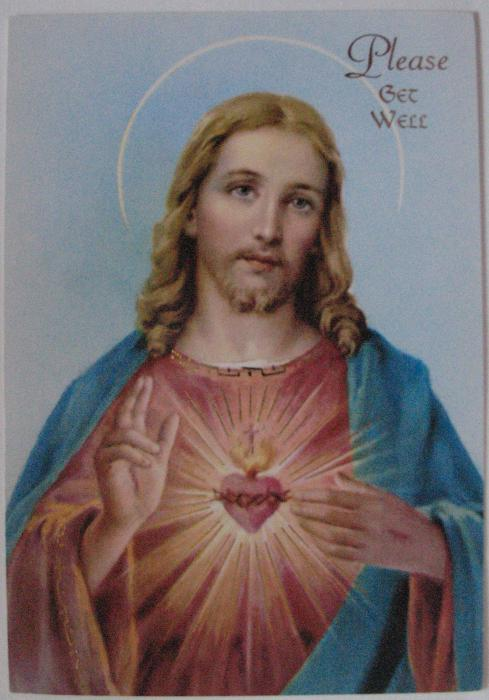 Please Get Well - Sacred Heart - Greeting Card