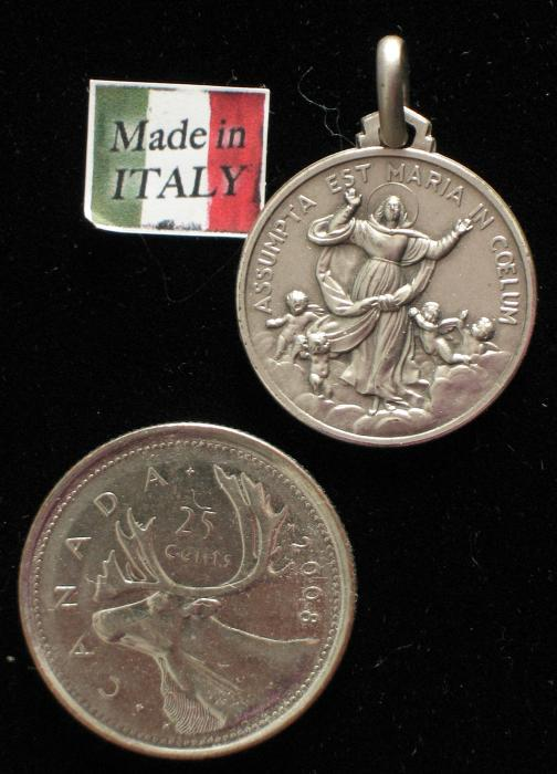 Sterling Silver Assumption of Mary Lg Round Medal