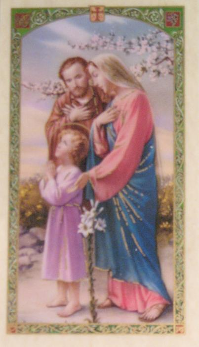 Consecration to the Holy Family Laminated Prayercard