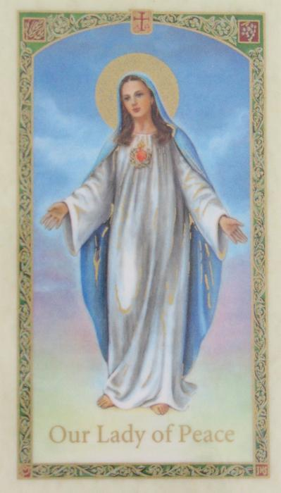 Consecration to Immaculate Heart of Mary Laminated Prayercard - Our Lady of Peace
