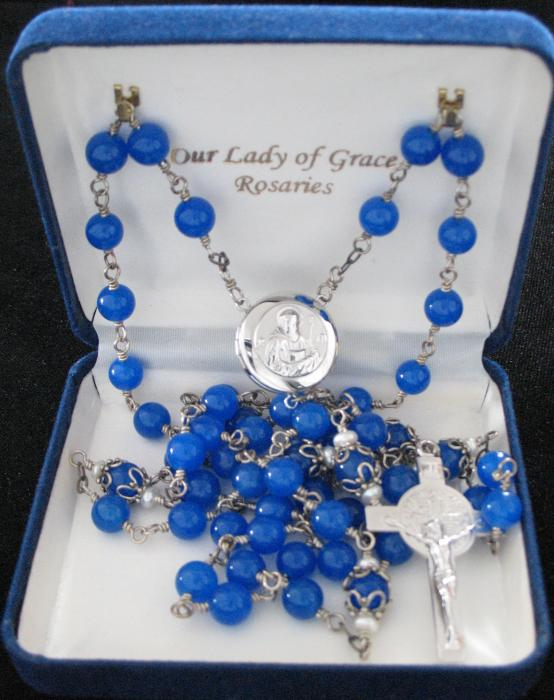 Sterling Silver Rosary - St. Benedict Locket -Blue Chalcedony / Pearl - Wire-wrapped