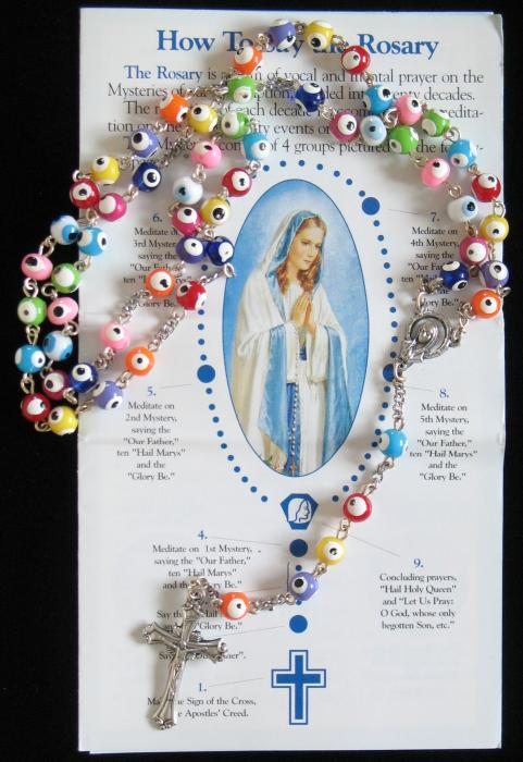 Chain Rosary - Colorful Beads - With Pamphlet