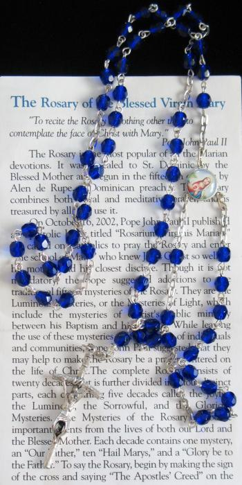 Blue Rosary With Pamphlet