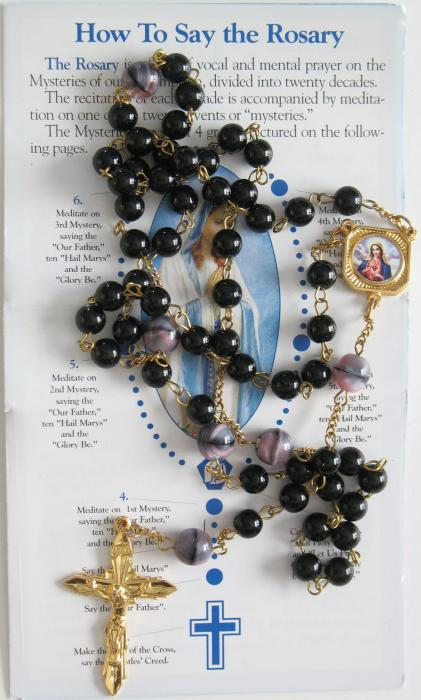 Black/ Marbled Glass Bead Chain Rosary