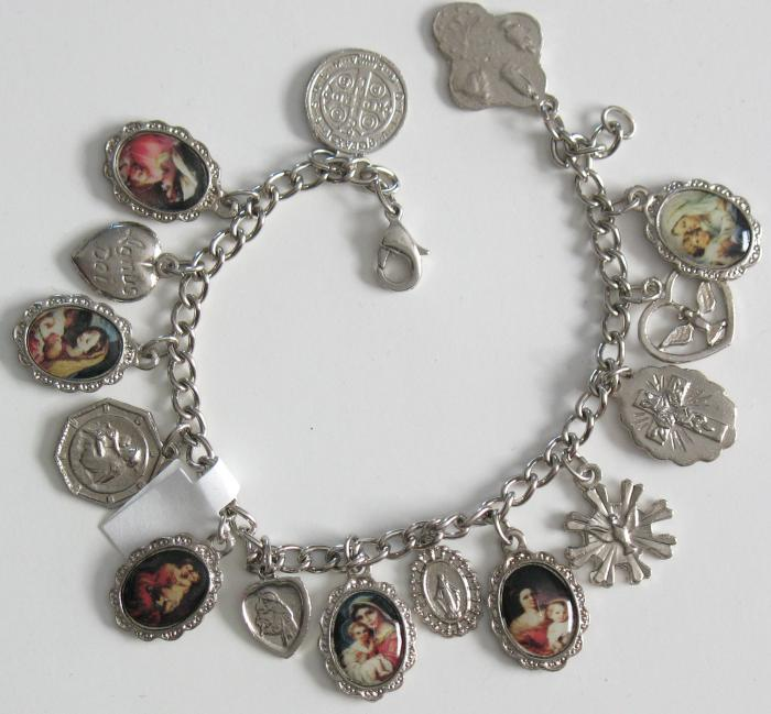Charm Bracelet with 15 Medals - 7 1/2 inch