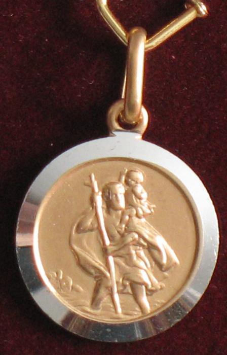 10K Gold Two Tone St Christopher Round