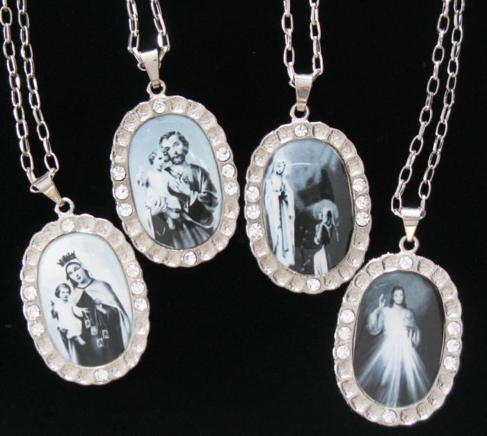 Medallion Necklace  with  Black & White Images - Various Images