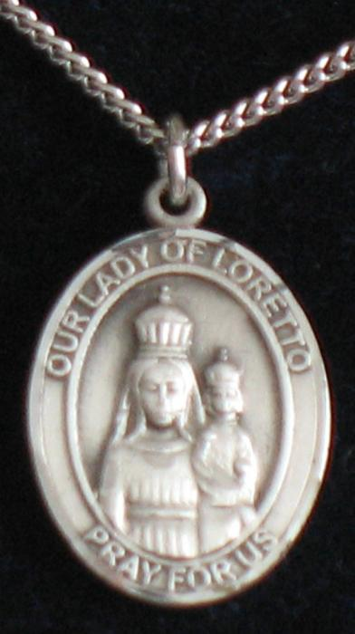 Our Lady of Loretto Sterling Silver Medal - Med. Oval