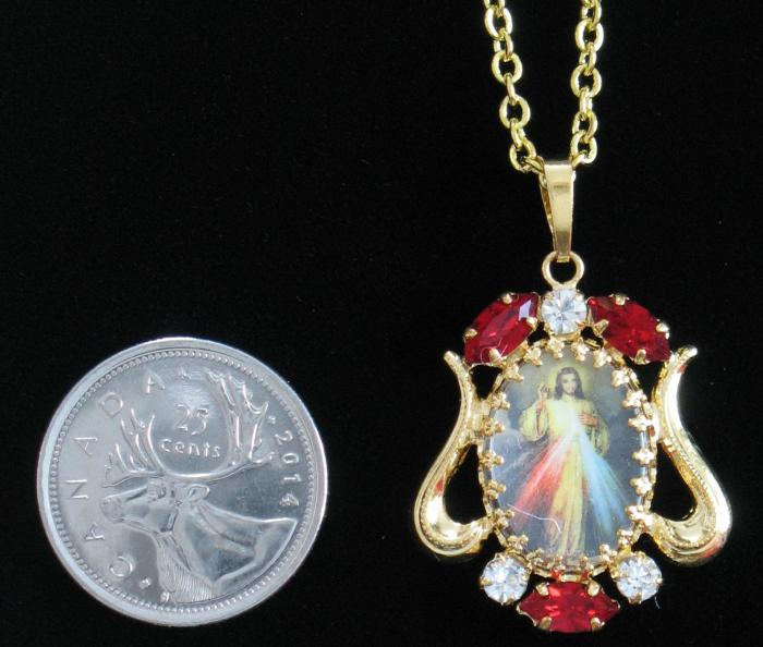 Gold Divine Mercy Pendent on Gold Chain