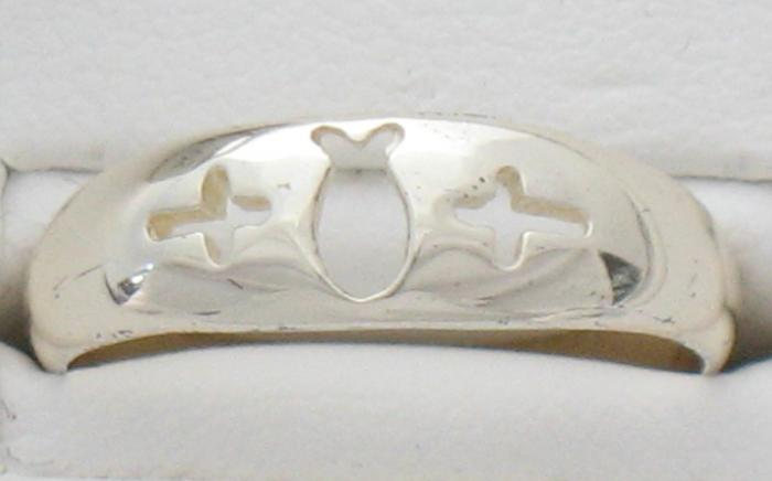 Sterling Silver Fish and Cross Ring
