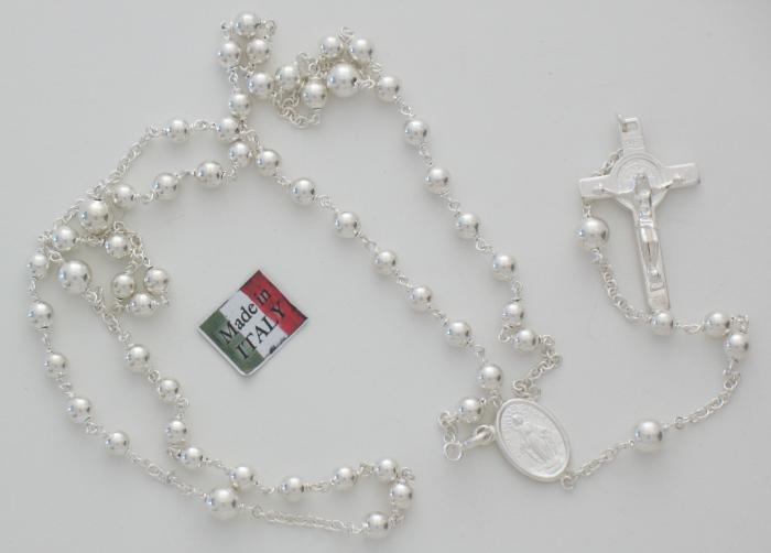 Sterling Silver Rosary - St Benedict and Miraculous Medal