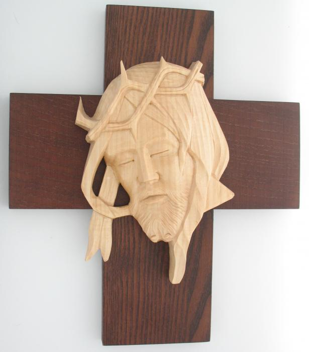 Hand Crafted Wood Cross with Christ's Face