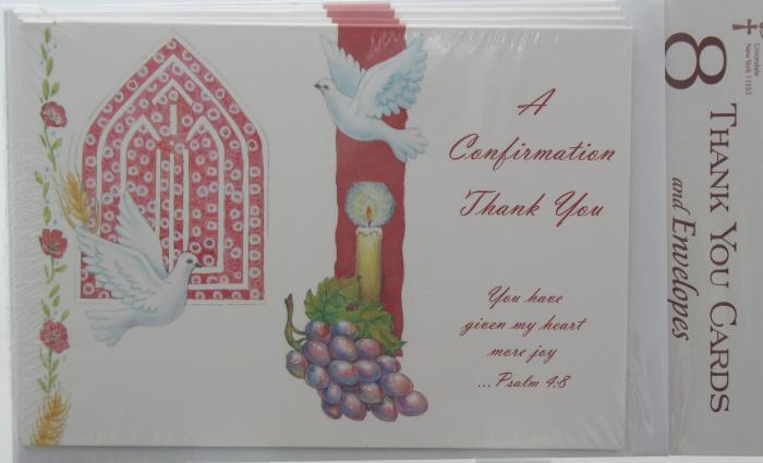 Confirmation Thank You Cards and Envelopes 8 Pack