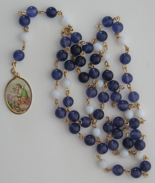 St. Joseph Chaplet Glass and Semi-Precious  Beads -with instruction card