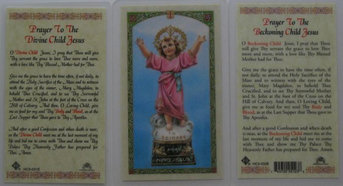 Divine Child - Beckoning Child Jesus - Laminated Prayercard