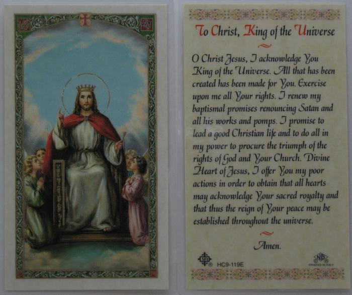 Christ The King of The Universe - Laminated Prayercard
