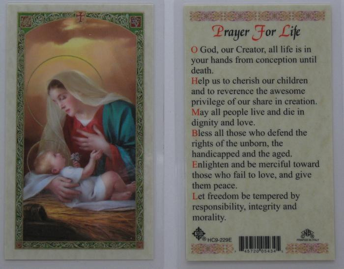 Madonna with Baby Jesus -Prayer for Life - Laminated Prayercard