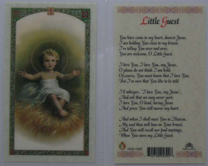 Baby Jesus - Little Guest Laminated Prayer Card