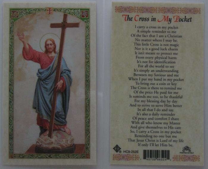 Jesus with Cross - Cross in My Pocket Laminated Prayer Card