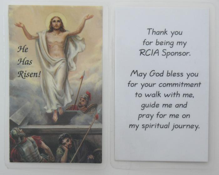 He Has Risen! Thank you for being my RCIA Sponsor - Laminated Card