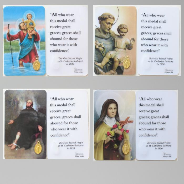 Laminated Small  Prayer Card with Miraculous Medal