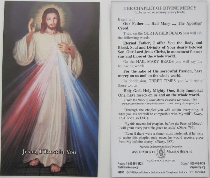 Divine Mercy Prayercard
