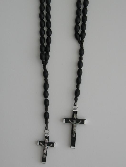 Black Wood Rosary - Cord
