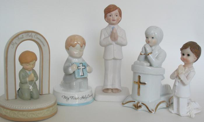 Boy Praying First Communion Figurine