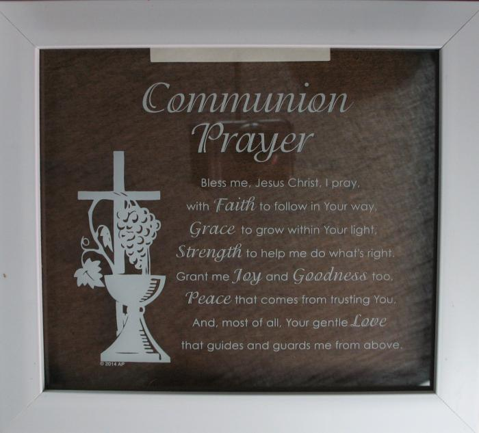 Communion Prayer Glass Plaque