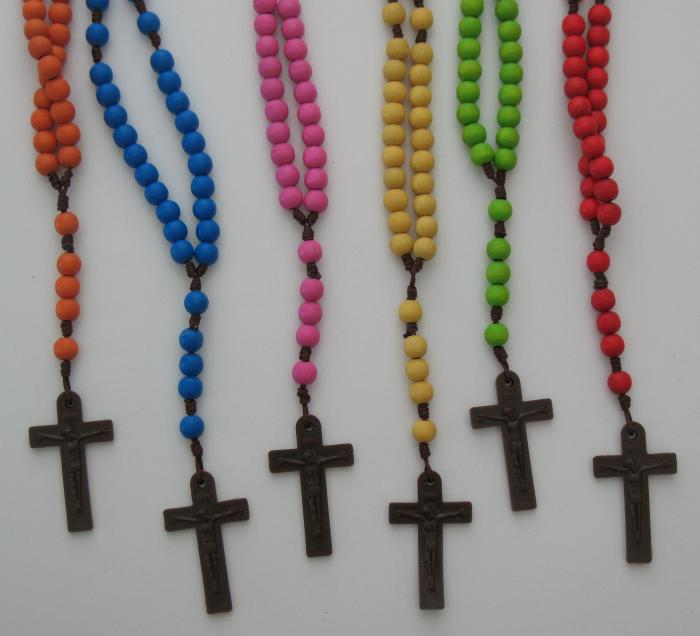 Coloured Wood Bead Rosary - Cord with Brown Plastic Crucifix
