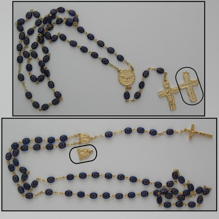 Cobalt Blue with Gold Dove Rosary - Ideal Confirmation Gift