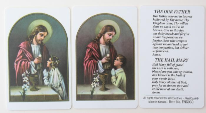 Communion Prayercard with Our Father and Hail Mary- or Magnet - plastic