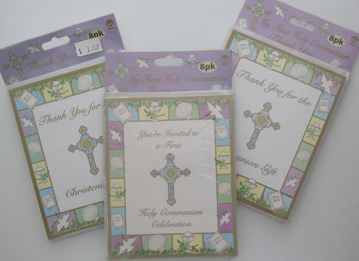 Invitations- Communion or Thank You Cards - Christening or Communion