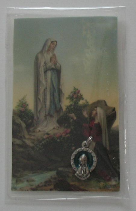Lourdes Medal with Laminated Prayercard