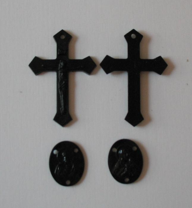 Black Plastic Crucifix and Rosary Centers - 100 piece Packages
