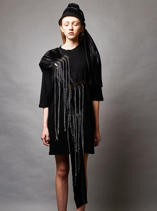 PLEATED APPLIQUE DRESS
