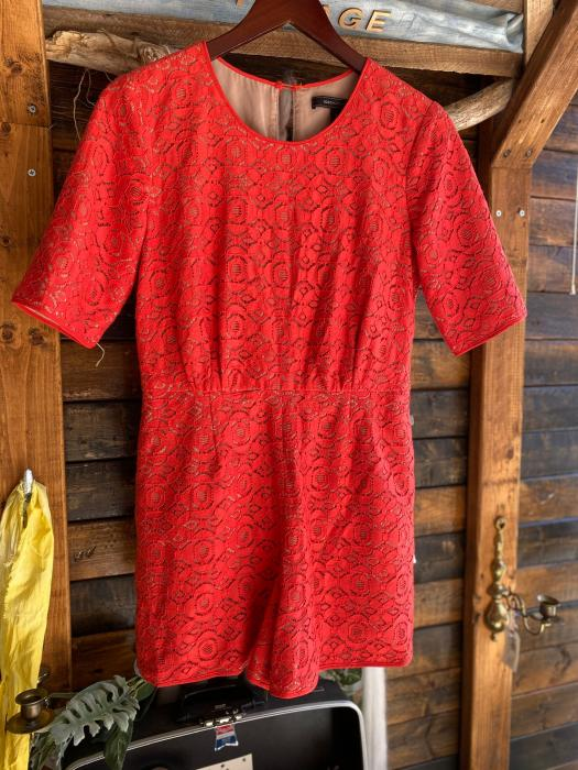 BCBG Red Lace Romper - S