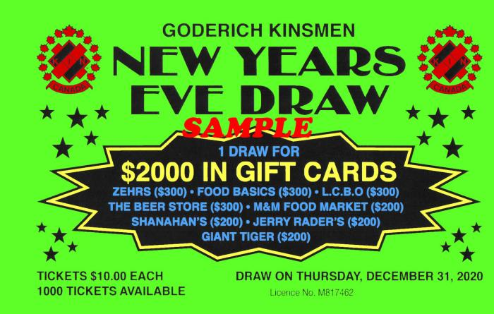 Goderich Kinsmen New Years Eve Draw Ticket SOLD OUT!